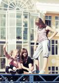 Group of teenage girls on the city street — Stock Photo