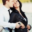 Happy young couple in love outdoor — Stock Photo #66508571
