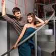 Young couple flirting in office — Stock Photo #66509669
