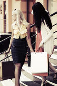 Dwa mody młodych kobiet z torby na zakupy — Zdjęcie stockowe
