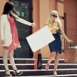 Two young fashion women with shopping bags on the mall steps — Stock Photo #68524483