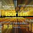 Tourism multilanguage wordcloud background concept glowing — Stock Photo #69211513