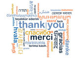 Thank you multilanguage wordcloud background concept — Stock Photo