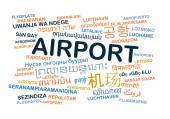 Airport international multilanguage wordcloud background concept — Stock Photo