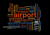 Airport international multilanguage wordcloud background concept — Stock Photo