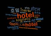Hotel multilanguage wordcloud background concept — Stock Photo