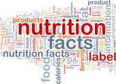 Nutrition facts background wordcloud concept illustration — Stock Photo