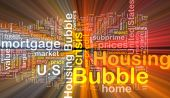 Housing bubble background wordcloud concept illustration glowing — Stock Photo