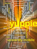 Yuppie  background wordcloud concept illustration glowing — Stock Photo