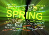 Spring multilanguage wordcloud background concept glowing — Stock Photo