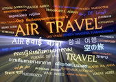 Air travel multilanguage wordcloud background concept glowing — Stock Photo