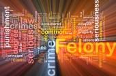 Felony background concept wordcloud glowing — Stock Photo
