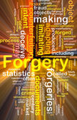 Forgery background concept wordcloud glowing — Stock Photo
