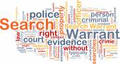 Search warrant background concept wordcloud — Stock Photo
