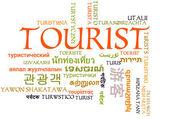 Tourist multilanguage wordcloud background concept — Foto Stock