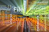 File sharing wordcloud concept illustration glowing — Stock Photo