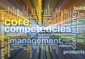 Core competencies wordcloud concept illustration glowing — Stock Photo