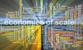 Economies of scale wordcloud concept illustration glowing — Stock Photo