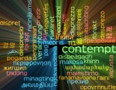 Contempt multilanguage wordcloud background concept glowing — Stock Photo