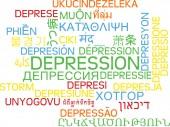 Depression multilanguage wordcloud background concept — Foto Stock