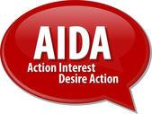 AIDA acronym word speech bubble illustration — Stock Photo