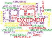 Aufregung mehrsprachige Wordcloud Hintergrund Konzept — Stockfoto