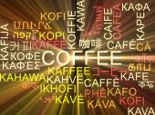 Coffee multilanguage wordcloud background concept glowing — Stock Photo