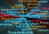 Funny multilanguage wordcloud background concept glowing — Stock Photo
