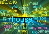 House multilanguage wordcloud background concept glowing — Stock Photo