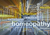 Homeopathy wordcloud concept illustration glowing — Stock Photo