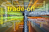 Trade-off wordcloud concept illustration glowing — Stock Photo