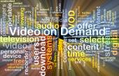Video on Demand wordcloud concept illustration glowing — Stock Photo