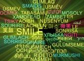 Smile multilanguage wordcloud background concept glowing — Stock Photo