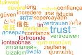 Доверять многоязыковой wordcloud фон концепции — Стоковое фото