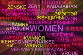 Women multilanguage wordcloud background concept glowing — Stock Photo