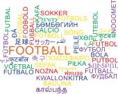Football multilanguage wordcloud background concept — 图库照片
