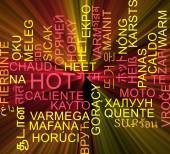 Hot multilanguage wordcloud background concept glowing — Stock Photo