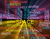Space multilanguage wordcloud background concept glowing — Stock Photo