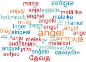 Angel multilanguage wordcloud background concept — Stock Photo