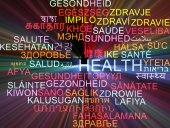 Health multilanguage wordcloud background concept glowing — Stock Photo