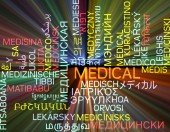 Medical multilanguage wordcloud background concept glowing — Stock Photo