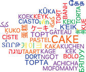 Cake multilanguage wordcloud background concept — Stock Photo