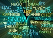 Snow multilanguage wordcloud background concept glowing — Stock Photo