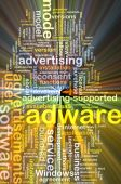 Adware wordcloud concept illustration glowing — Stock Photo
