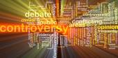 Controversy wordcloud concept illustration glowing — Stock Photo