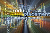 Product placement wordcloud concept illustration glowing — Stock Photo