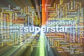 Superstar wordcloud concept illustration glowing — Stock Photo