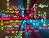 Waterfall multilanguage wordcloud background concept glowing — Stock Photo