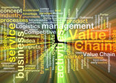 Value chain wordcloud concept illustration glowing — Stock Photo