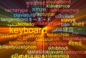 Keyboard multilanguage wordcloud background concept glowing — Stock Photo